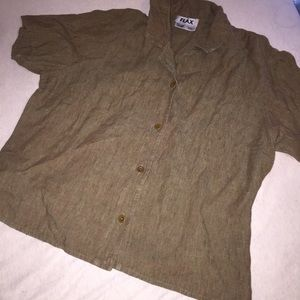 Flax 100% linen Button up blouse shirt L Brown